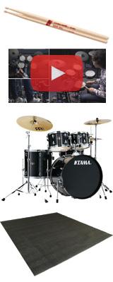 【ドラムマット付き】 TAMA(タマ) / IMPERIALSTAR(インペリアルスター) [IE52KH6HC-HBK(ヘアライン・ブラック)] - 22インチバスドラムセット - 4大特典セット