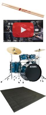 【ドラムマット付き】 TAMA(タマ) / IMPERIALSTAR(インペリアルスター) [IE52KH6HC-HLB(ヘアライン・ブルー)] - 22インチバスドラムセット - 4大特典セット