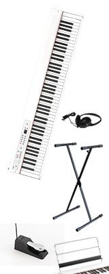 【X型スタンドセット】 Korg(コルグ) / D1 WH (ホワイト) スピーカーレス デジタルピアノ 「譜面立て・ダンパーペダル・ヘッドホン付き」 1大特典セット