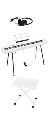 【専用スタンド&イスセット】Korg(コルグ) / D1 WH (ホワイト) スピーカーレス デジタルピアノ 「譜面立て・ダンパーペダル・ヘッドホン付き」 1大特典セット