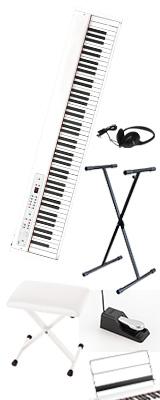 【X型スタンド&イスセット】Korg(コルグ) / D1 WH (ホワイト) スピーカーレス デジタルピアノ 「譜面立て・ダンパーペダル・ヘッドホン付き」 1大特典セット