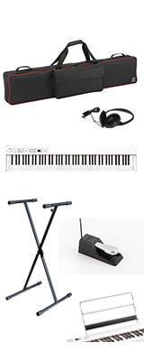 【専用バッグ&X型スタンドセット】 Korg(コルグ) / D1 WH (ホワイト) スピーカーレス デジタルピアノ 「譜面立て・ダンパーペダル・ヘッドホン付き」 1大特典セット