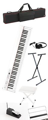 【専用バッグ&X型スタンド&イスセット】 Korg(コルグ) / D1 WH (ホワイト) スピーカーレス デジタルピアノ 「譜面立て・ダンパーペダル・ヘッドホン付き」 1大特典セット