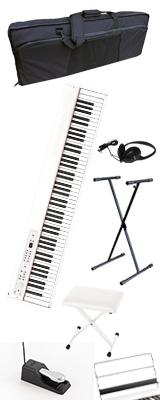 【撥水バッグ&X型スタンド&イスセット】 Korg(コルグ) / D1 WH (ホワイト) スピーカーレス デジタルピアノ 「譜面立て・ダンパーペダル・ヘッドホン付き」 1大特典セット
