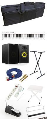 【モニタースピーカーセット】 Korg(コルグ) / D1 WH (ホワイト) スピーカーレス デジタルピアノ 「譜面立て・ダンパーペダル・ヘッドホン付き」 2大特典セット