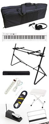 【SonicBarセット(ブラック)】 Korg(コルグ) / D1 WH (ホワイト) スピーカーレス デジタルピアノ 「譜面立て・ダンパーペダル・ヘッドホン付き」 2大特典セット