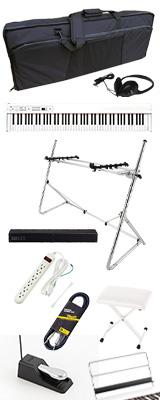 【SonicBarセット(シルバー)】 Korg(コルグ) / D1 WH (ホワイト) スピーカーレス デジタルピアノ 「譜面立て・ダンパーペダル・ヘッドホン付き」 2大特典セット