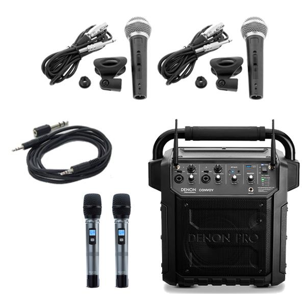 【有線マイクセット】 Denon Professional(デノンプロフェッショナル) / CONVOY / ワイヤレスマイク2本付き - ポータブルPAシステム - 【 Bluetooth対応 充電池内蔵 】12月5日発売