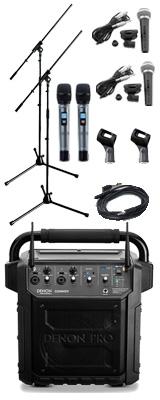 【有線マイク・スタンドセット】 Denon Professional(デノンプロフェッショナル) / CONVOY / ワイヤレスマイク2本付き - ポータブルPAシステム - 【 Bluetooth対応 充電池内蔵 】12月5日発売 2大特典セット