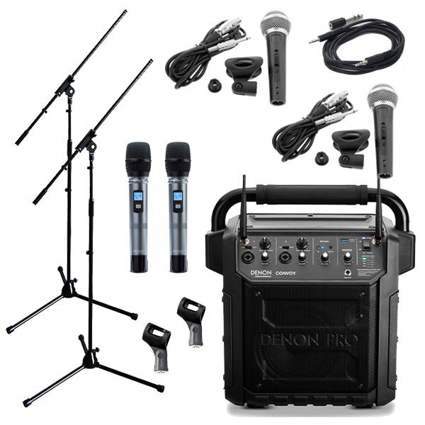 【有線マイク・スタンドセット】 Denon Professional(デノンプロフェッショナル) / CONVOY / ワイヤレスマイク2本付き - ポータブルPAシステム - 【 Bluetooth対応 充電池内蔵 】12月5日発売