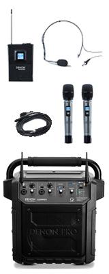 【ヘッドセット1個追加セット】 Denon Professional(デノンプロフェッショナル) / CONVOY / ワイヤレスマイク2本付き - ポータブルPAシステム - 【 Bluetooth対応 充電池内蔵 】 2大特典セット