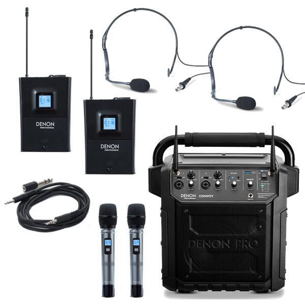 【ヘッドセット2個追加セット】 Denon Professional(デノンプロフェッショナル) / CONVOY / ワイヤレスマイク2本付き - ポータブルPAシステム - 【 Bluetooth対応 充電池内蔵 】12月5日発売