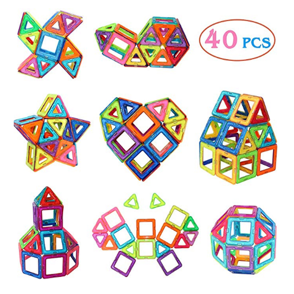 Manve / 磁石 タイル ビルディング ブロック 40ピース おもちゃ 知育玩具