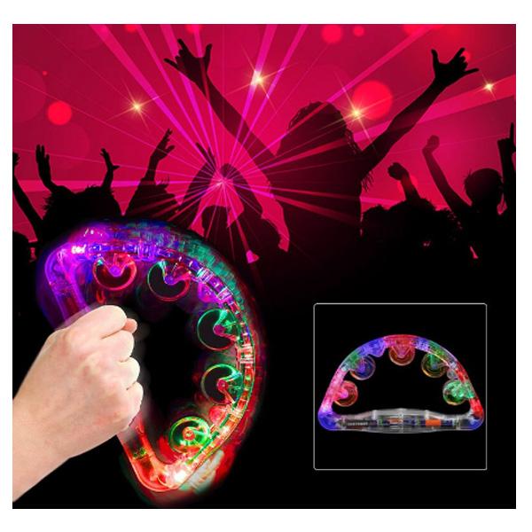 光る タンバリン /  LED レインボーカラー / カラオケ パーティーグッズ