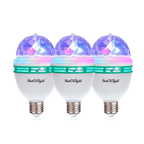 YouOKLight / 3-Pack E26 Rotating Lamp LED / パリピグッズ パーティ クラブ / 3W RGB  ミラーボール ライト