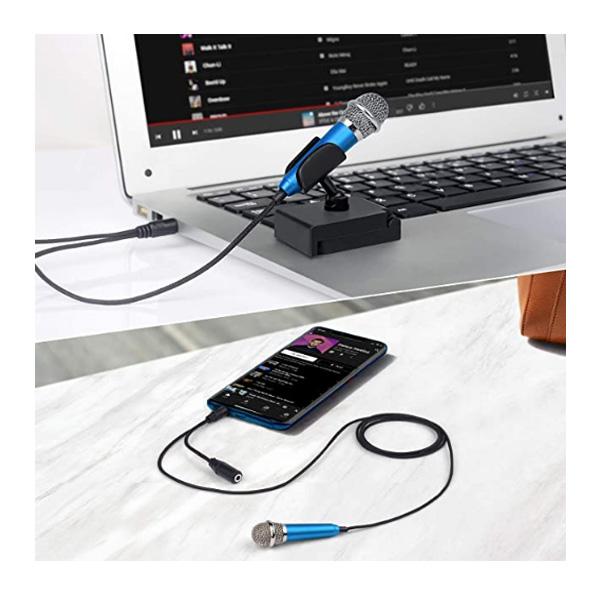 Uniwit / ステレオミニ 3.5mm入力 約6cm  スタンド付き / ミニ コンデンサー ピンマイク 卓上マイク (ブルー)