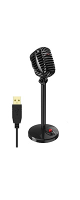 ボーカル 録音 ゲーム  配信 テレワーク / USB対応 (ブラック) / 全指向性(無指向性) / レトロ風 卓上 スタンドマイク