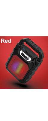 Unknown / Bluetooth・AUX3.5mm・USBメモリ・microSDカード対応 / 充電式 ポータブル LED スピーカー(レッド)  【パッケージ無し・バルク商品】