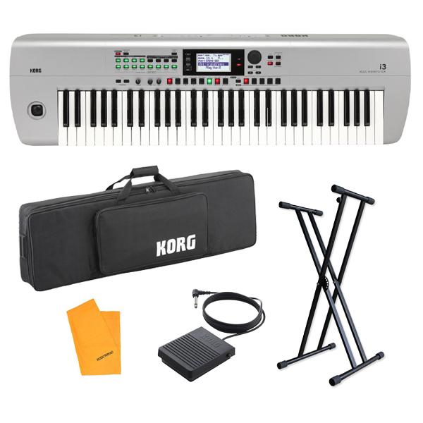 【スタンドセット】 Korg(コルグ) / i3 MS (スーパー・マット・シルバー) / Super Matte Silver / 電池駆動可能 自動伴奏機能付き 61鍵盤 シンセサイザー・ワークステーション