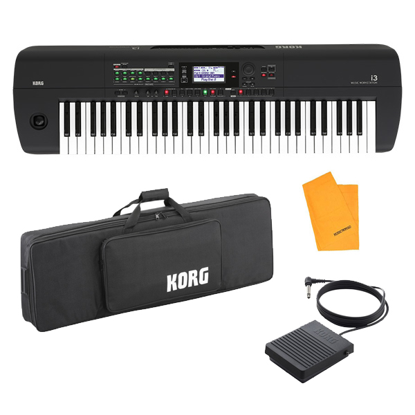 【専用ケースセット】 Korg(コルグ) / i3 MB (スーパー・マット・ブラック) 電池駆動可能 自動伴奏機能付き 61鍵盤 シンセサイザー・ワークステーション