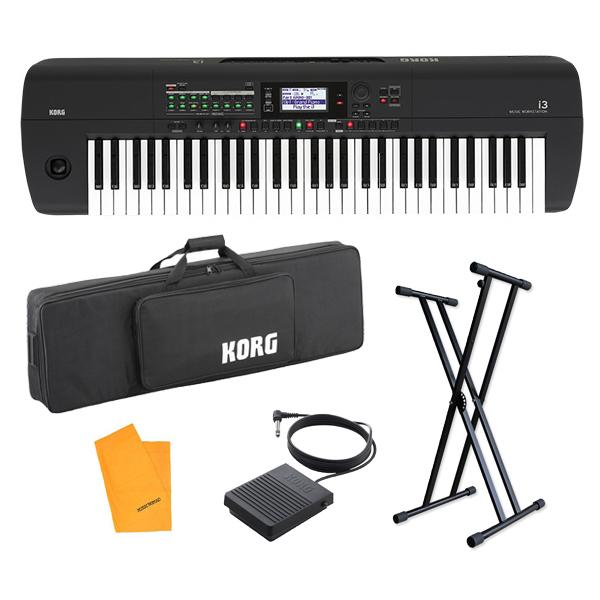 【スタンドセット】 Korg(コルグ) / i3 MB (スーパー・マット・ブラック) 電池駆動可能 自動伴奏機能付き 61鍵盤 シンセサイザー・ワークステーション