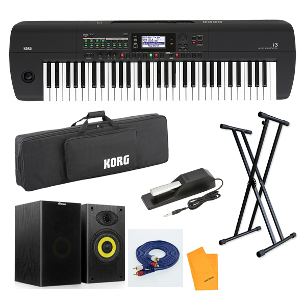【オススメ!スタートセット】 Korg(コルグ) / i3 MB (スーパー・マット・ブラック) 電池駆動可能 自動伴奏機能付き 61鍵盤 シンセサイザー・ワークステーション