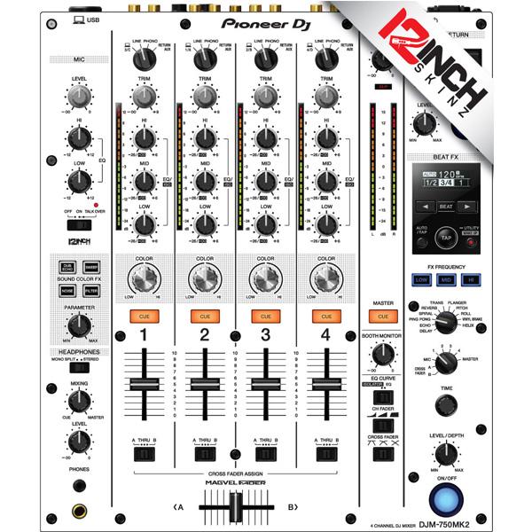 12inch SKINZ / Pioneer DJM-750MK2 Skinz / White/Black / スキン