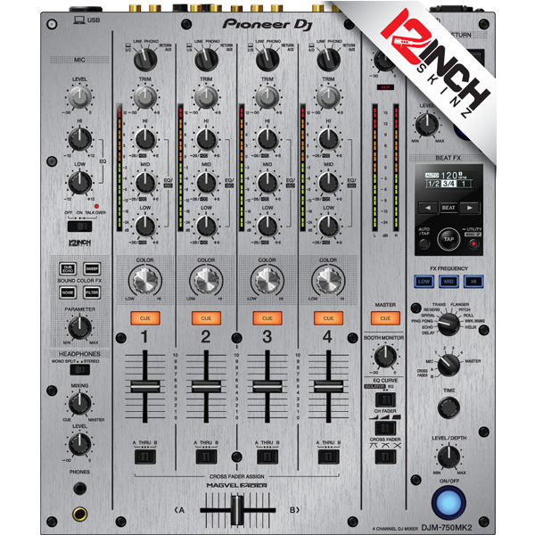 12inch SKINZ / Pioneer DJM-750MK2 Skinz / Brushed Silver / スキン
