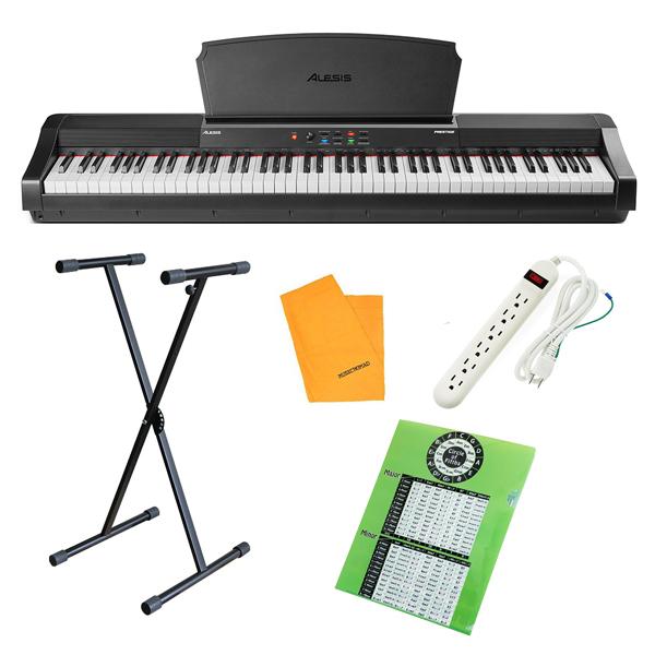 【X型スタンドセット】 ALESIS(アレシス) / Prestige スピーカー内蔵 88鍵 ハンマーアクション鍵盤 電子ピアノ・MIDIキーボード 【サステインペダル、譜面台 付属】【6月3日(木)発売】