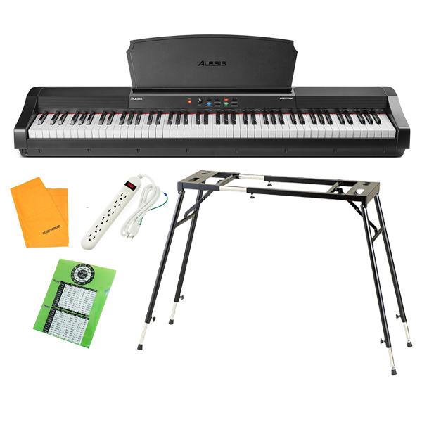 【テーブル型スタンドセット】 ALESIS(アレシス) / Prestige スピーカー内蔵 88鍵 ハンマーアクション鍵盤 電子ピアノ・MIDIキーボード 【サステインペダル、譜面台 付属】【6月3日(木)発売】