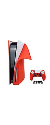 PlayStation 5 (PS5) 通常/ディスクバージョン本体・コントローラー用 シリコン スキン カバー (RED)