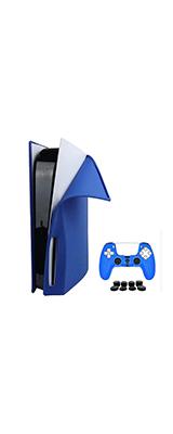 PlayStation 5 (PS5) 通常/ディスクバージョン本体・コントローラー用 シリコン スキン カバー (BLUE)