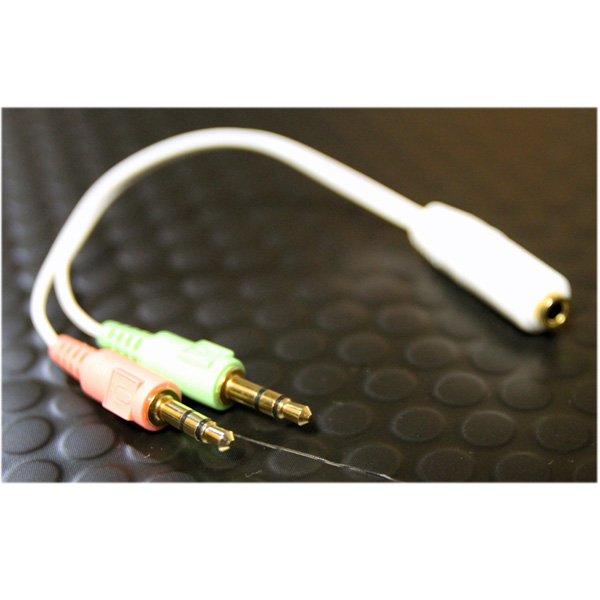 オーディオ変換 分岐ケーブル 【マイク付きイヤホンをPCで使用するための変換ケーブル】