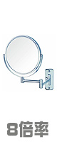 Jerdon(ジェルドン) / JP7808C (クローム) 《拡大鏡》 [鏡面 直径20cm] 【8倍率/等倍率】 壁面取付型ミラー