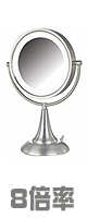 Jerdon(ジェルドン) / HL8510NL (ニッケル) 《ライト付拡大鏡》 [鏡面 直径22cm] 【8倍率/等倍率】 卓上型テーブルミラー 1大特典セット