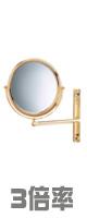 Jerdon(ジェルドン) / JP3030GF (ゴールド) 《拡大鏡》 [鏡面 直径23cm] 【3倍率/等倍率】 壁面取付型ミラー