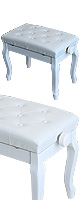 Euro Style(ユーロスタイル) / 猫足ピアノベンチ 【ホワイト】 高さ調節可能キーボードベンチ
