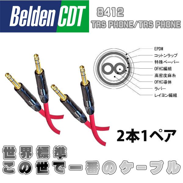 世界標準・世界1のケーブル Belden(ベルデン) / 8412 TRSフォン/TRSフォン 金メッキプラグ 2m [2本1ペア]
