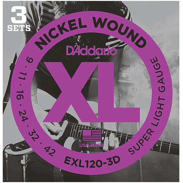 D'Addario(ダダリオ) / EXL-120-3D 3 Sets Super Light -エレキ弦 3セット-