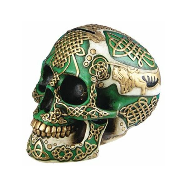 DLEG /  Figurine Celtic Lion Skull Bank Hand Painted Resin  6411 - ドクロ貯金箱 【輸入品】