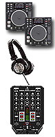 "DN-S1200 / VMX200USB オススメBセット ■限定セット内容■→ 【・USBメモリ2個 ・教則DVD ・セッティングマニュアル ・金メッキ高級接続ケーブル 3M 1ペア ・OAタップ ・ミックスCD作成KIT ・DN-HP500 ・DJ必需CD 計""5枚""】"