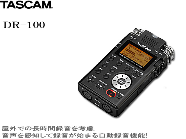 Tascam(タスカム ) / DR-100 ポータブルデジタルレコーダー 【2GB SDメモリーカード(本体差込済み)付属】 【専用ソフトケース付属】