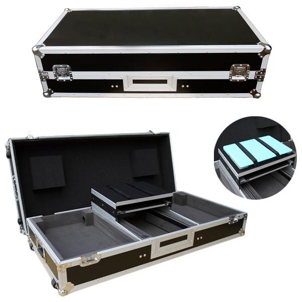 Euro Style(ユーロスタイル) / FLIGHTCASE for 2pcs PLX-1000 & MIXER (ブラック) 【対応機種 Pioneer PLX-1000 / PLX-500 / Technics SL-1200 / Numark TT250USB / Reloop RP-7000 / RP-8000 / Neu DD1200MK3 2台 & PioneerDJM-900NXS / DJM-900NXS2 / DJM-S9 / DJM-850 / DJM-800 / DJM-750 / DJM-700 / DJM-400 / Native Instruments Traktor Kontrol Z2 / Rane TTM 57SL / Sixty-One / Sixty-Two / Sixty-Four / Sixty-Eight / Vestax / 05pro3 / 05pro4 1台】 - DJセットケース -