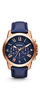 FOSSIL(フォッシル) / Grant Chronograph Leather Watch - Blue (Men's/FS4835) - 腕時計 -
