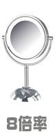 Jerdon(ジェルドン) / HL8808CL (クロム)  《LED付き拡大鏡》 [鏡面 約22cm / 高さ 約40cm] 【8倍率】 - 卓上型テーブルミラー -