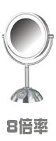 Jerdon(ジェルドン) / HL8808NL (ニッケル)  《LED付き拡大鏡》 [鏡面 約22cm / 高さ 約40cm] 【8倍率】 - 卓上型テーブルミラー -