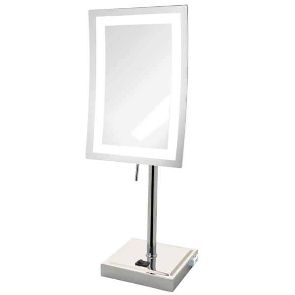 Jerdon(ジェルドン) / JRT910CL (クロム)  《LED付き鏡》 [鏡面 約17×23cm / 高さ 約43cm] 卓上型テーブルミラー 1大特典セット