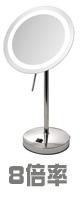 Jerdon(ジェルドン) / JRT950CL (クロム) 《LEDライト付拡大鏡》 [鏡面 直径約22cm] 【8倍率】 卓上型拡大鏡 1大特典セット