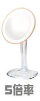 Jerdon(ジェルドン) / JS725RL (ローズゴールド)  《ライト付拡大鏡》 [鏡面 直径約18cm] 【5倍率】 - 卓上型テーブルミラー -