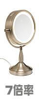 Jerdon(ジェルドン) / LT856N (ニッケル) 《ライト付拡大鏡》 [鏡面 直径22cm] 【7倍率/等倍率】 -卓上型テーブルミラー- ■限定セット内容■ 【・OAタップ 】
